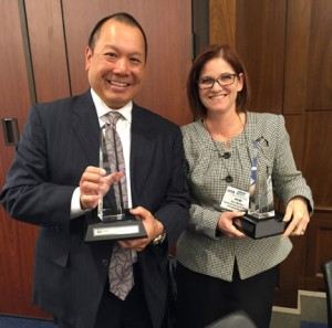 CGA President/CEO Ron Fong and Keri Askew Bailey, senior vice president of Government Relations and Public Policy receive Donald MacManus Award.